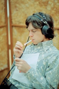 Mick smoking, RCA Studios, Hollywood, 1965