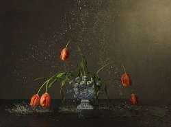 Vase, Orange Tulips and Water