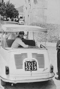 Jackie Kennedy in a custom Fiat 600, Ravello, Italy, August 1962
