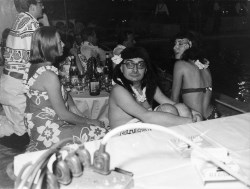 Claude Chabrol dressed as a Tahitian woman. Megeve, 1962.