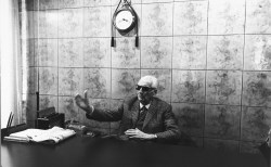 Enzo Ferrari in his office in Modena. 1985.