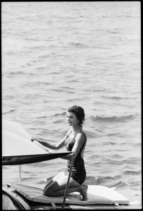 Jackie Kennedy on her boat. Ravello, August 1962.