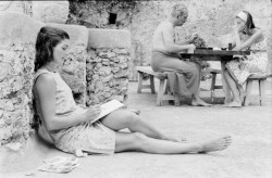 Jackie Kennedy writing. Ravello, August 1962.